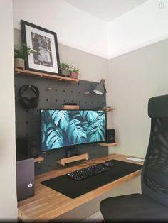 From reddit Computer Desk Setup, Gaming Room Setup, Pc Setup, Gaming Desk, Home Office Setup, Home Office Design, House Design, Office Ideas, Dream Desk