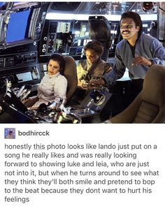 """Luke looks like he's texting """"Han, Lando put on some music and it's really bad, what do I do?"""" """"Suck it up, kid,"""" """"Thx Han, you're such a good friend."""" """"I try. ;)"""""""