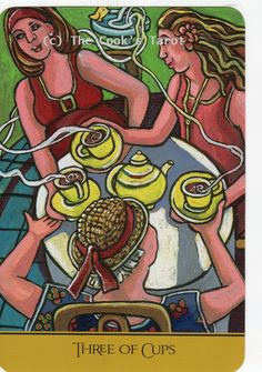 The Cook's Tarot, Three of Cups - If you love Tarot visit me at www.WhiteRabbitTarot.com