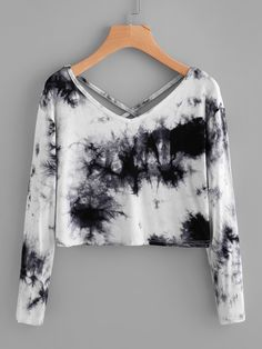 Shop Water Color Criss Cross Back Tee online. SheIn offers Water Color Criss Cross Back Tee & more to fit your fashionable needs. Girls Fashion Clothes, Teen Fashion Outfits, Mode Outfits, Girl Fashion, Girl Outfits, Clothes For Women, Cheap Clothes, Ladies Fashion, Fashion Dresses