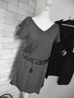NEU *MANDARIN* Kleid Longshirt Nieten anthrazit grau Gr. 34 oder 36