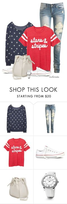 """""""Stars and Stripes"""" by kellyloveschristmas ❤ liked on Polyvore featuring Wet Seal, Converse, Nina Ricci and David Yurman"""