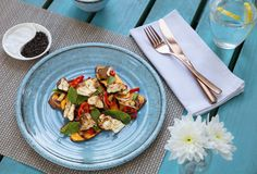 Grilled sweet potato, chill chicken and mint salad