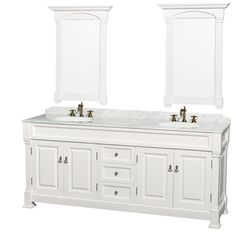 The Wyndham Andover 80-inch white round sink 24-inch mirror double bathroom vanityrepresents an updated take on traditional styling. The Andover is a keystone piece, with strong, classic lines and an attention to detail.