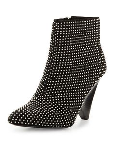 X2WGX Vince Camuto Signature Galla Studded Suede Bootie, Black
