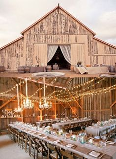 barn wedding -- love the lights + simple linen to-the-floor tablecloths