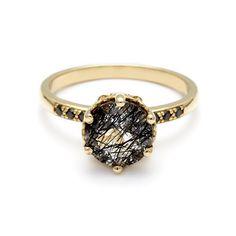 Hazeline Black Diamond engagement ring in 14k rose gold unique timeless – Anna Sheffield