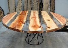 Awesome Resin Wood Table Project 24 - furniture - Epoxy Home Wood Resin Table, Epoxy Resin Wood, Slab Table, Wooden Tables, Resin Furniture, Luxury Furniture, Into The Woods, Wood Creations, Wood Slab