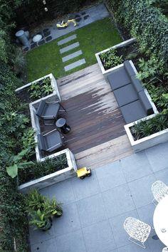 Sitting area with WPC planks, outdoor dining area - Terrasse und Garten - Design Rattan Furniture Modern Garden Design, Landscape Design, Contemporary Garden, Terrace Design, Modern Design, Small Gardens, Outdoor Gardens, Veggie Gardens, Roof Gardens