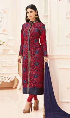 Mystical Red and Blue Silk Embroidered Party Wear Straight Cut Style Salwar Suit Designer Suits Online, Designer Salwar Suits, Designer Dresses, Mouni Roy Dresses, Latest Party Wear Suits, Indian Wedding Wear, Desi Wedding, Suits Online Shopping, Bollywood Outfits