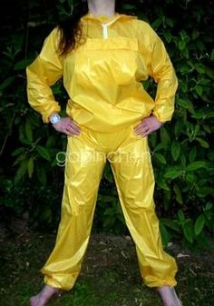 Yellow nylon outfit