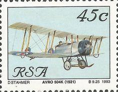 Stamp: Avro 504K (1921) (South Africa) (Aviation in South Africa) Mi:ZA 873,Yt:ZA 790
