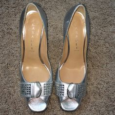 Casadei silver crystal heels Silver leather peep toe pumps! With front buckle and crystals/rhinestones. Very formal!! Worn once! What you see is what you get. No box/dustbag. Shoe says 6.5, I believe it is a 7.5. trust Me! Casadei Shoes Heels