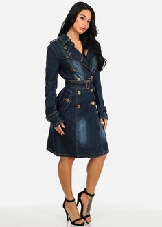 Vintage Denim Double Breasted Shirt Dress Trench