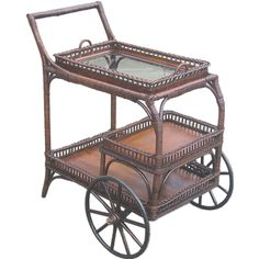 Wicker Tea Cart~used to have. Serving Trolley, Tea Trolley, Antique Tea Cart, Victorian Tea Party, Bar Cart Styling, Royal Tea, Small Bars, Victorian Furniture, Tea Service