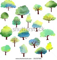 set of different trees painted by watercolor, vector illustration by Cat_arch_angel, via Shutterstock