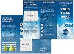 Download Water Basis of Life Brochure templates for print.  Beautiful and high-quality brochure design can create a positive image of your company, as well as to share useful information. Perfect and unique design concept impress any client. A useful ... Company Brochure, Brochure Design, Brochure Template, Water Company, Water Branding, Leaflet Design, 2 Logo, Positive Images, Illustrations And Posters
