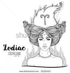 Zodiac: Aries astrological sign. Vector illustration with portrait of a pretty girl. Black and white drawing isolated on white. Design for coloring book page for adults and kids. - stock vector