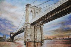 The Sentinel – Brooklyn Bridge – NY - USA, aquarelle 53 x 36, Fabriano 300gr, Original 600 Euro, Exclusive high end imprint on aquarelle paper - 100 Euro www.sandorszikszai.com Ny Usa, Brooklyn Bridge, Bridges, Euro, Paper, Travel, Life, Viajes, Trips