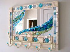 18x 21 Upcycled seaside mirror coat rack by JustLookAtYourself, $200.00