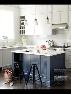 This is the kitchen inspiration. Blue Kitchen Island, subway tile, lighting, grey and whites, faucet, hob/cooker, thicker counter on island