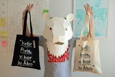 "Uuden muotoilun yhdistys (Turku new design association) ""Varför Paris, vi had ju Åbo"" bags available again. Get yours from Roots Cultural Movement streetshop (Rauhankatu 12 / 20100 Turku / Finland).  Photo: Saana"