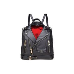 Leather Moto Jacket Backpack ($60) ❤ liked on Polyvore featuring bags, backpacks, leather backpack bag, day pack backpack, real leather backpack, rucksack bags and leather top handle bag