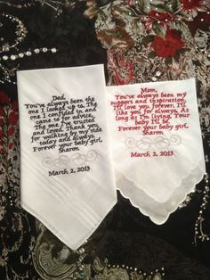 Mother & Father of the Bride Gifts Hankerchief - $36.00, via Etsy. For my brother, aunt and uncle maybe?