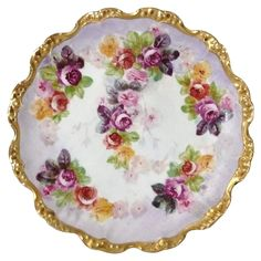 Antique Coiffe Limoges Cabinet Plate with Dainty Cabbage Roses Available at Mill Cove Treasures on Ruby Lane.