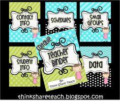 Editable Teacher Binder Blue Green product from ThinkShareTeach on TeachersNotebook.com