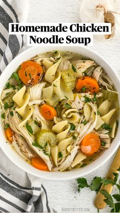 Fall Soup Recipes, Chicken Soup Recipes, Easy Chicken Noodle Soup, Homemade Chicken Soup, Chicken Soup Seasoning, Rotisserie Chicken Soup, Boneless Chicken, Homemade Chicken Vegetable Soup, Chicken Soup For Colds