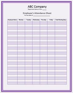Office Staff Attendance Sheet Template