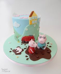 Peppa and Daddy Pig theme cake Muddy Puddles cake by Sugar & Spice Gourmandise Gifts https://www.facebook.com/SugarandSpiceGourmandise