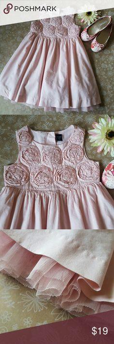 GAP Blush Pink Rosette Dress Size 4T Gorgeous Blush colored Cotton dress by GAP Kids. Excellent Used Condition! Tulle underlay for volume in skirt! 3D Rosettes on bodice, 3 shimmer Buttons on back. Shoes & Flower not included... GAP Dresses Formal
