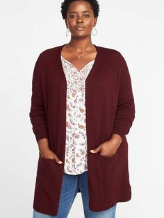 02f206c98a7be Long-Line Open-Front Plus-Size Sweater