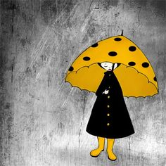 #polkadot #umbrella #rain #illustration