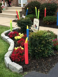 Turn pool noodles into lawn birthday candles with foam board for the flame... Brilliant! Image only