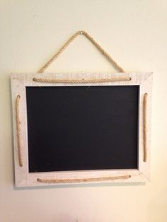 Rustic, white chalkboard with rope embellishment--16 1/2 x 13 1/2--chalkboard--office--white--rope--wall art--kitchen--frame on Etsy, $32.99
