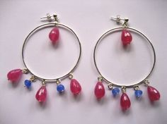 Hoops Gemstone hoopsFuschia and blue agate by TzenNikoletta Gifts For Coworkers, Gifts For Teens, Gifts For Wife, Girl Gifts, Gifts For Friends, Silver Earrings, Drop Earrings, Christmas Gifts For Husband, Friendship Gifts
