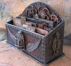 Steampunk Letter Box Steampunk Project Ideas Clothing and Decor MaritimeVintage.com #Steampunk