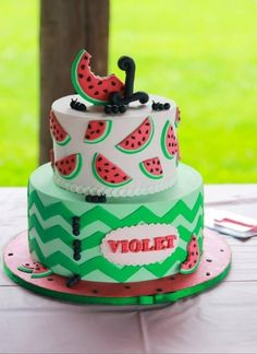 Super Cute!!! Watermelon Birthday Cake