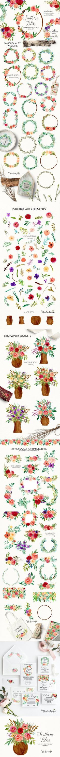 Southern Bliss Watercolor ClipArt . Watercolor Flowers