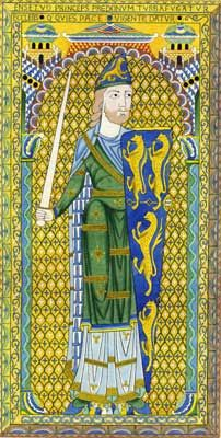 "Geoffrey V of Anjou - Founder of the House of ""Plantagenet"" - This surname comes from the Latin, ""planta genista."" Geoffrey V, [1113-1151], had, according to tradition, the habit of wearing a broom sprig in his helmet, whence the French variant, Plantegenet, arose. Later traditions, equally unverifiable, claim that Geoffrey, in penitence for some unknown sin, scourged himself with branches from a broom plant."
