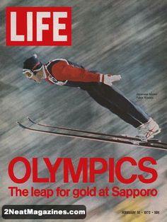 Life Magazine February 18, 1972 : Cover - Yukio Kasaya, winning ski jumper at the Sapporo Olympics, excellent action photo.