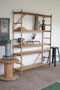 The neutral golden hue of notched bamboo can be a useful and decorative touch in a multitude of settings. With ladder sides, the shelf heights are adjustable. E