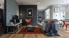 Apartments: Open Plan Living Area With Carefully Chosen Cinderblocks As The Backdrop Coupled With Grey Comfy Sofa And Rustic Leather Sling Chair Eclectic Single Bedroom Apartment Design Ideas Masculine Apartment, Apartment Chic, Industrial Apartment, Bedroom Apartment, Apartment Interior, Urban Apartment, Apartment Ideas, Studio Apartment, Colorful Apartment