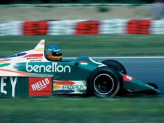 Benetton and Gerhard Berger, both running for their first victory, during the Mexican Grand Prix in 1986. The Benetton B186 was running Pirelli tires, which were more durable than the Goodyear's, hence they never had to pit for fresh tires.
