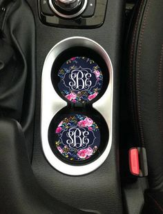 Monogram Car Coasters Navy Floral Roses Personalized Car Accessories Floral Coaster Truck Cup Holder - Cars X Custom Car Accessories, Preppy Car Accessories, Vehicle Accessories, Diy Auto, Gif Disney, Car Essentials, Wraps, Cute Cars, First Car
