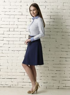 The gentle flare of an A-line skirt will make your busty figure look more proportioned. Our Navy A-line skirt is available to buy here: http://dd-atelier.com/Navy-A-line-skirt.html
