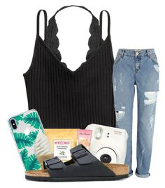 """""""200 followers"""" by johnstonemma ❤ liked on Polyvore featuring Humble Chic, H&M, River Island, The Casery, Burt's Bees, Fujifilm, Too Faced Cosmetics and Birkenstock"""